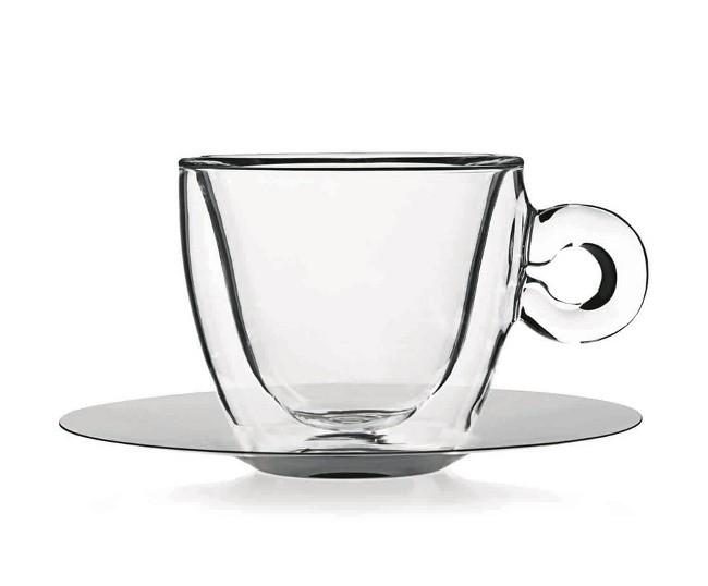 φλυτζάνα espresso με διπλό τοίχωμα και ανοξείδωτο πιατάκι luigi bormioli home   ειδη cafe τσαϊ