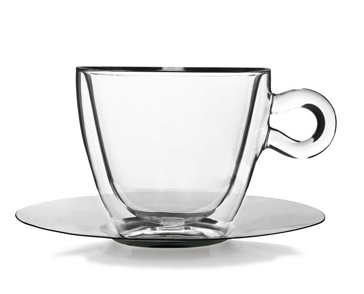 φλυτζάνα cappuccino με διπλό τοίχωμα και ανοξείδωτο πιατάκι luigi bormioli home   ειδη cafe τσαϊ   κούπες   φλυτζάνια