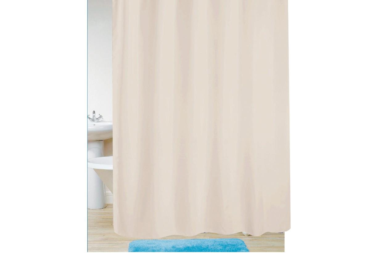 κουρτίνα μπάνιου υφασμάτινη μονόχρωμη εκρού 180x180cm home   ειδη μπανιου   κουρτίνες μπάνιου
