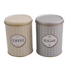κουτιά μεταλλικά σετ 2 τεμ καφέ ζάχαρη