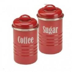 δοχεία σετ καφέ - ζάχαρη μεταλλικά κόκκινα typhoon