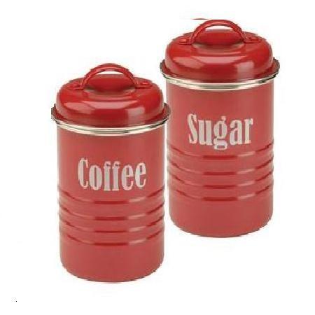δοχεία σετ καφέ - ζάχαρη μεταλλικά κόκκινα typhoon home   ειδη cafe τσαϊ   δοχεία καφε   ζάχαρης