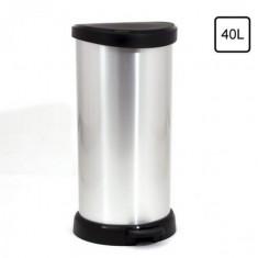 πεντάλ απορριμάτων curver 40lit πλαστικό ασημί