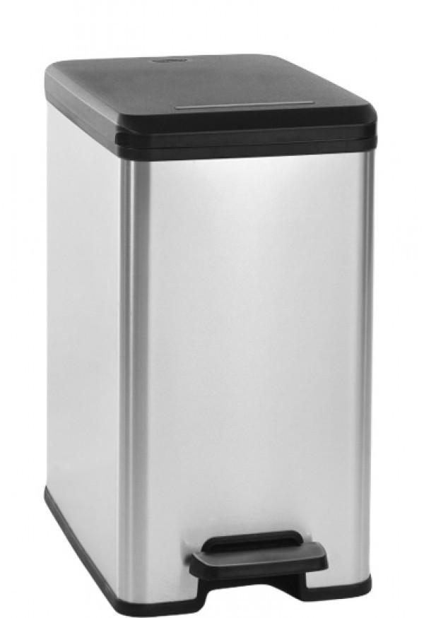 πεντάλ απορριμάτων curver slim bin 25lit ασημί home   αξεσουαρ κουζινας   δοχεία απορριμάτων