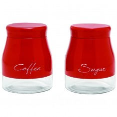 Δοχείο Καφέ - Ζάχαρη Home Design Γυάλινο κόκκινο Σετ 2 Τμχ