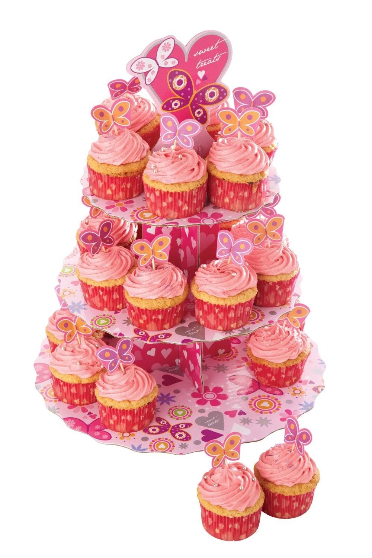 βάση παρουσίασης cup cake χάρτινη καρδούλες kitchencraft home   ζαχαροπλαστικη   τουρτιέρα   θήκες cake
