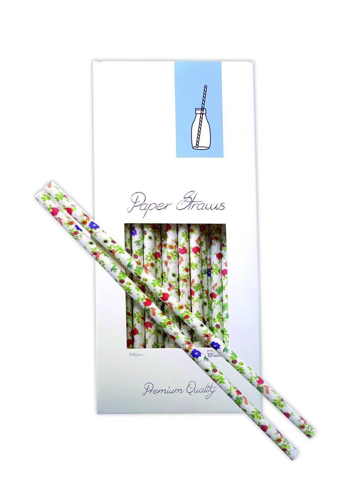 καλαμάκια χάρτινα Aps λουλούδια 100 τεμάχια home   ειδη σερβιρισματος   ποτήρια
