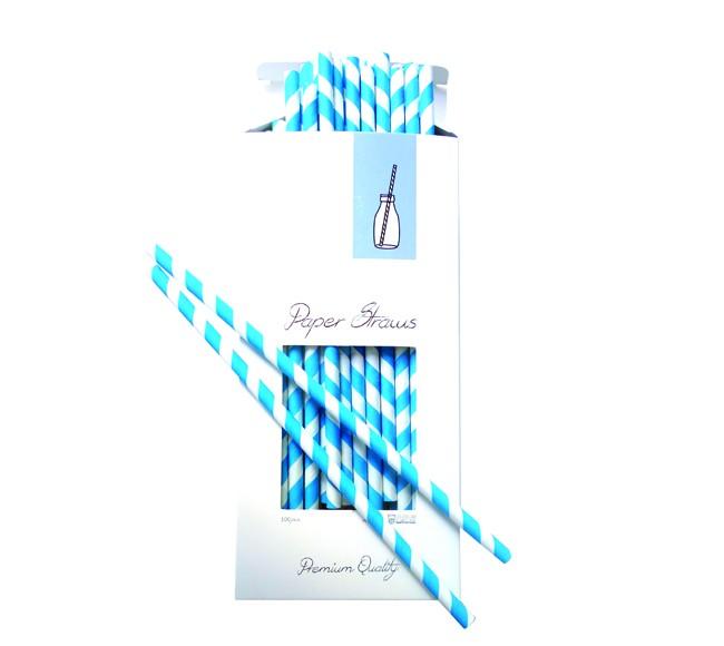καλαμάκια χάρτινα aps ριγέ μπλε 100 τεμάχια home   ειδη σερβιρισματος   ποτήρια