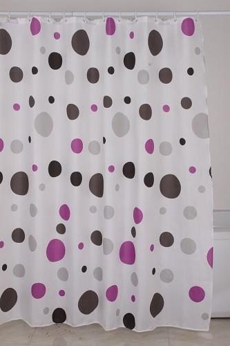 κουρτίνα μπάνιου υφασμάτινη Πουά Μωβ Γκρι 180x180cm home   ειδη μπανιου   κουρτίνες μπάνιου