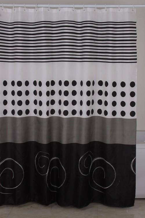 Κουρτίνα Μπάνιου Υφασμάτινη Μαύροι Κύκλοι 180x180cm home   ειδη μπανιου   κουρτίνες μπάνιου