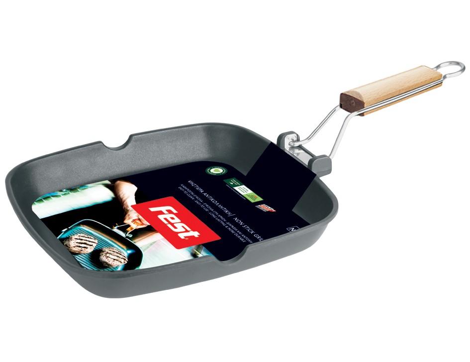 γκριλιέρα αντικολλητική fest τετράγωνη με σπαστό χερούλι 28cm home   σκευη μαγειρικης   γκριλιέρες