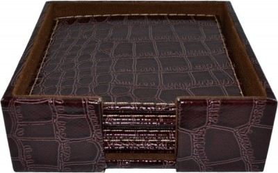 Σουβέρ Δερμάτινα croco Σετ 6 Τεμάχια Τετράγωνα καφέ home   αξεσουαρ κουζινας   σουβέρ