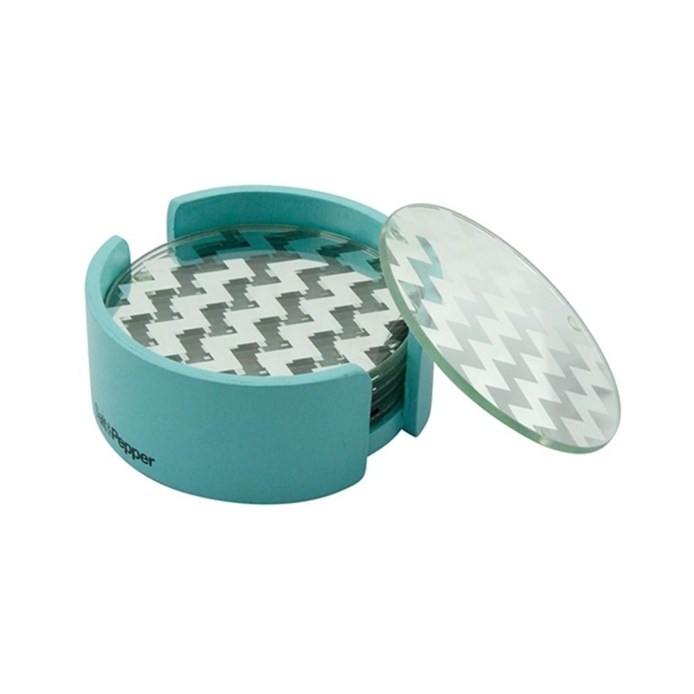 Σουβέρ γυάλινα Salt & Pepper σετ 6τμχ Coasters Τυρκουάζ