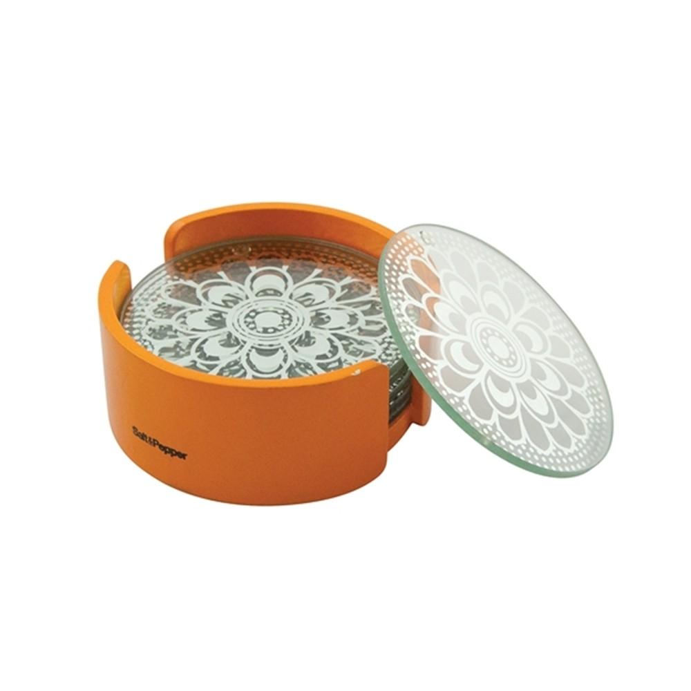 Σουβέρ Γυάλινα Salt & Pepper Σετ 6τμχ Coasters Πορτοκαλί home   αξεσουαρ κουζινας   σουβέρ