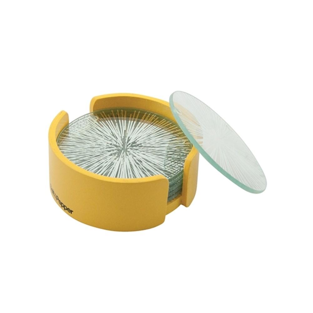 Σουβέρ Γυάλινα Salt & Pepper Σετ 6τμχ Coasters Κίτρινο home   αξεσουαρ κουζινας   σουβέρ