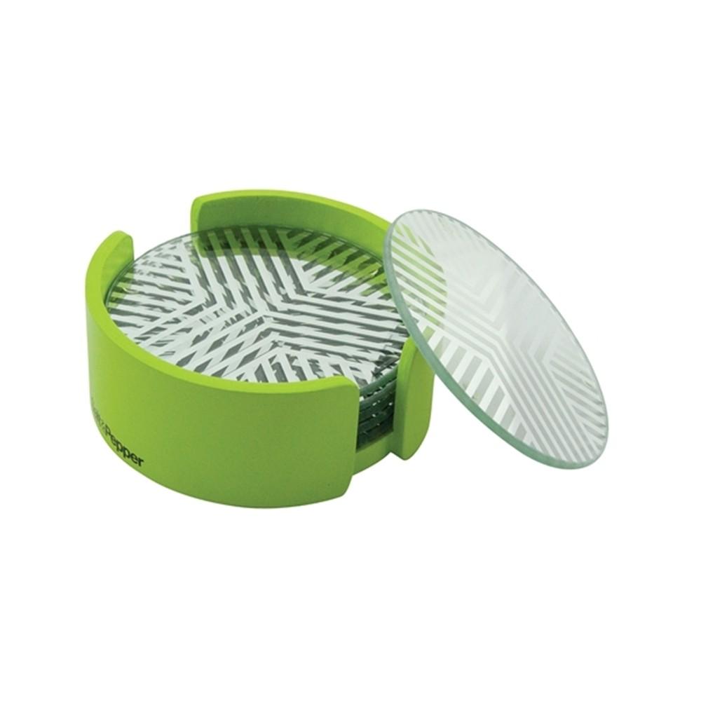 Σουβέρ Γυάλινα Salt & Pepper Σετ 6τμχ Coasters Πράσινο home   αξεσουαρ κουζινας   σουβέρ