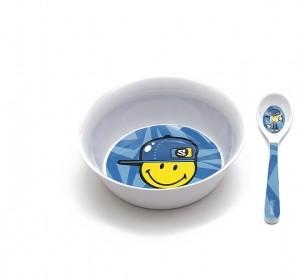 Μπολ Με κουταλάκι BeBe Smiley Kid Zak Designs Μελαμίνης Μπλε home   ειδη σερβιρισματος   πιάτα