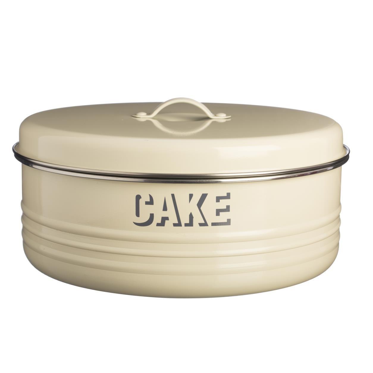 Θήκη Για Κεϊκ Vintage Μεταλλική Cream Typhoon home   ζαχαροπλαστικη   τουρτιέρα   θήκες cake