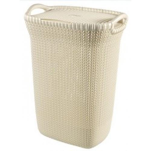 Καλάθι Απλύτων Knit 57Lt Μπεζ Curver home   ειδη μπανιου   καλάθια απλύτων