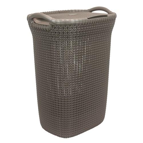 Καλάθι Απλύτων Knit 57Lt Καφέ Curver home   ειδη μπανιου   καλάθια απλύτων