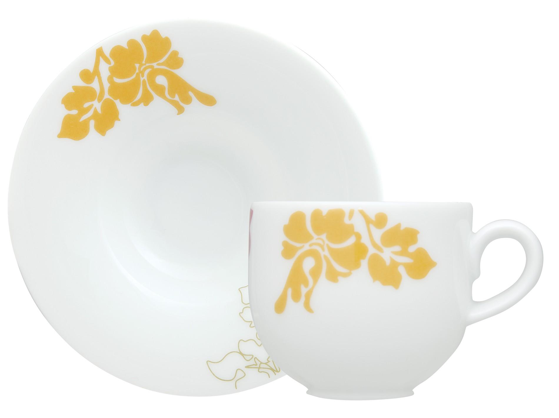 Φλυτζάνι & Πιάτο Καφέ Ιβίσκος Σετ 6τμχ Ionia home   ειδη cafe τσαϊ   κούπες   φλυτζάνια