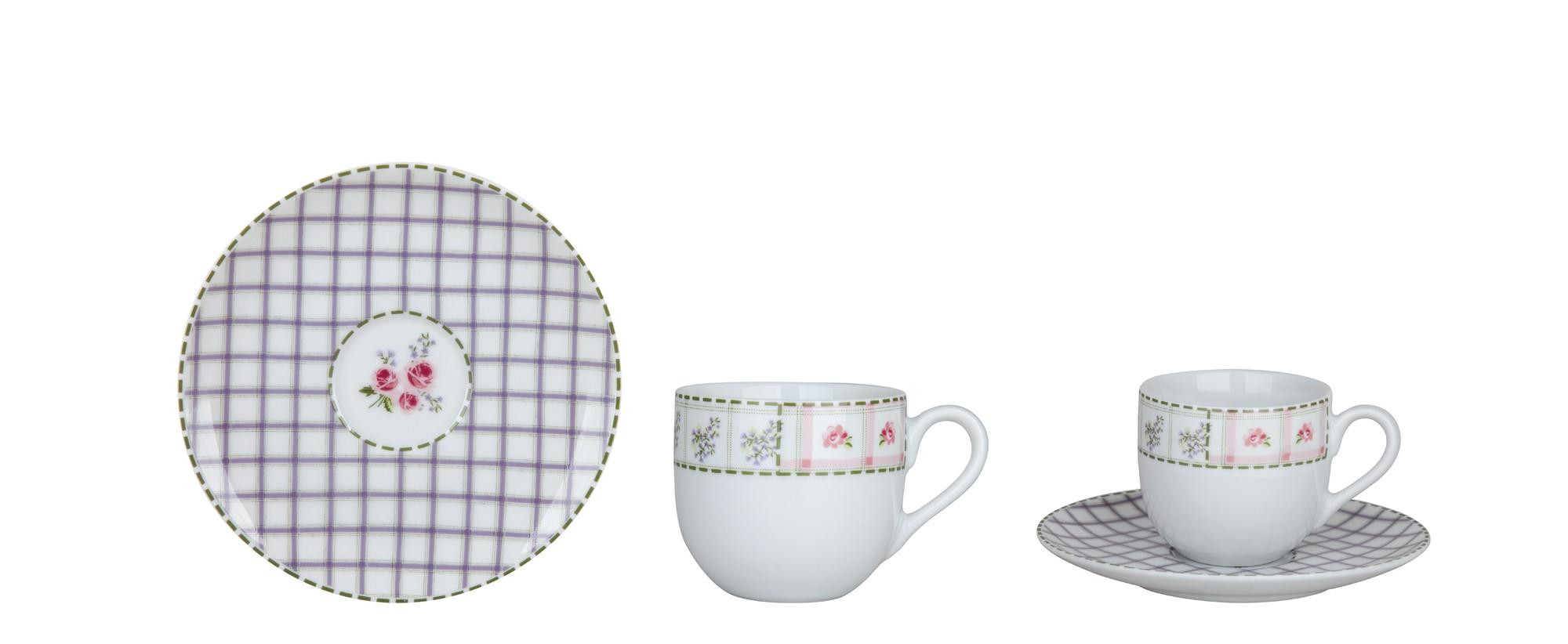 Φλυτζάνι & Πιάτο Καφέ Patchwork Σετ 6τμχ Ionia home   ειδη cafe τσαϊ   κούπες   φλυτζάνια