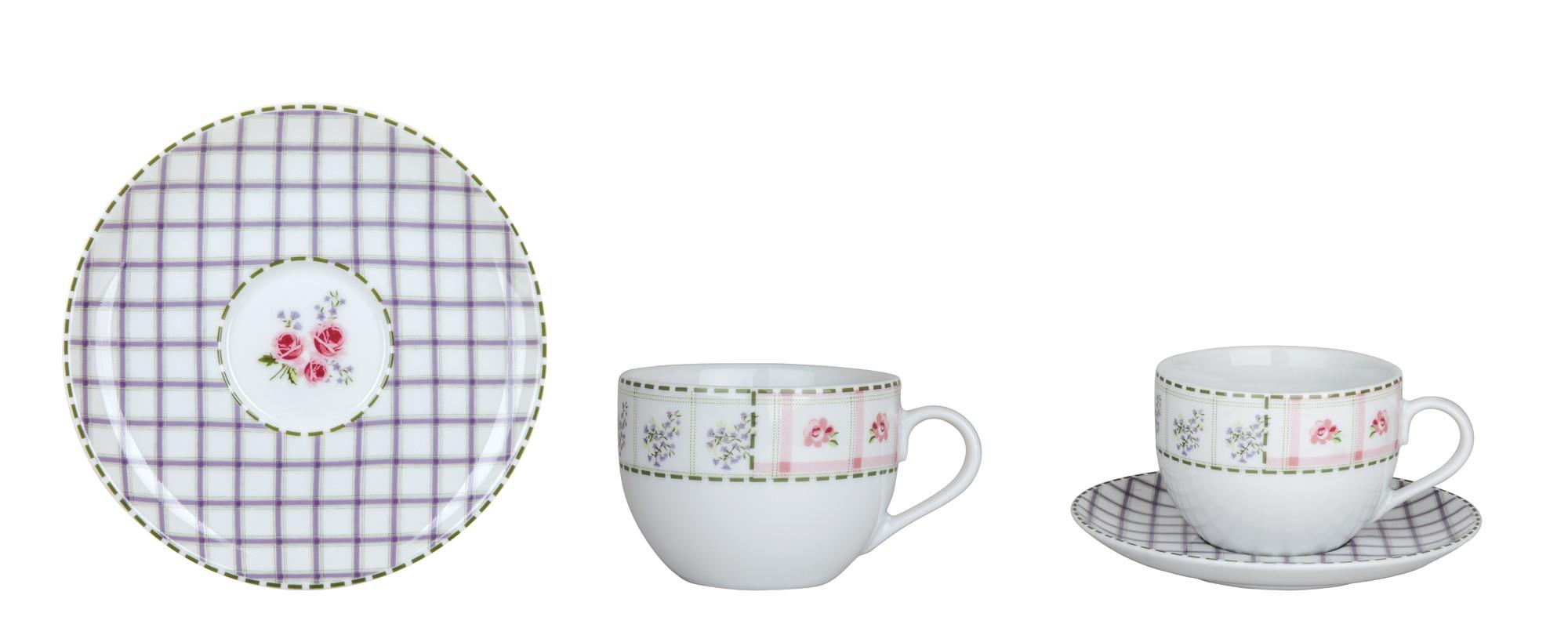 Φλυτζάνι & Πιάτο Τσαγιού Patchwork Σετ 6τμχ Ionia home   ειδη cafe τσαϊ   κούπες   φλυτζάνια