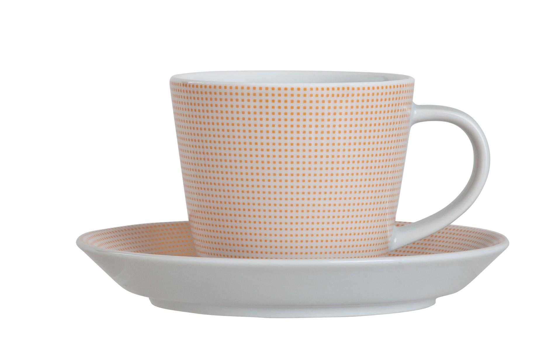 Φλυτζάνι & Πιάτο Τσαγιού Punto Orange Σετ 6τμχ Ionia home   ειδη cafe τσαϊ   κούπες   φλυτζάνια