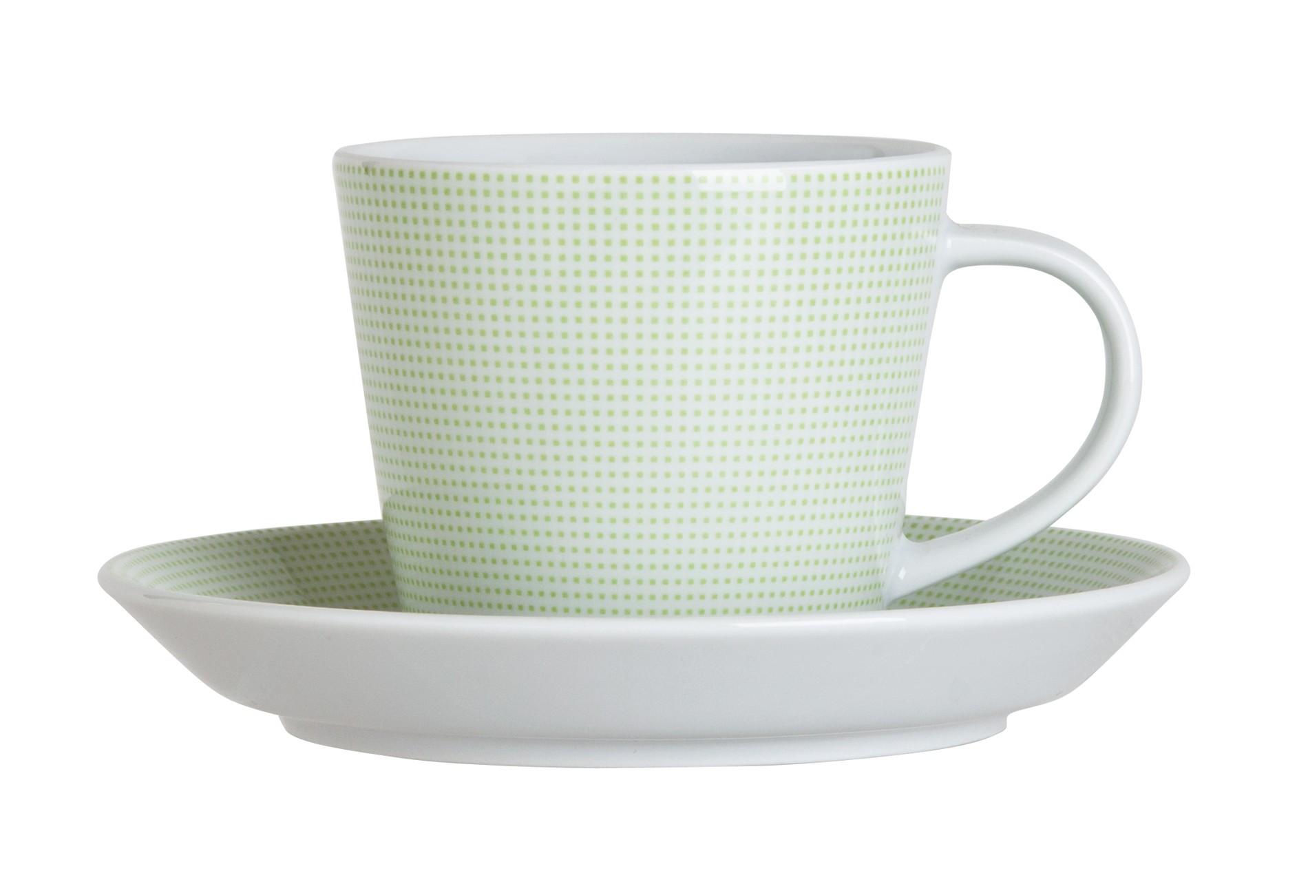 Φλυτζάνι & Πιάτο Τσαγιού Punto Green Σετ 6τμχ Ionia home   ειδη cafe τσαϊ   κούπες   φλυτζάνια