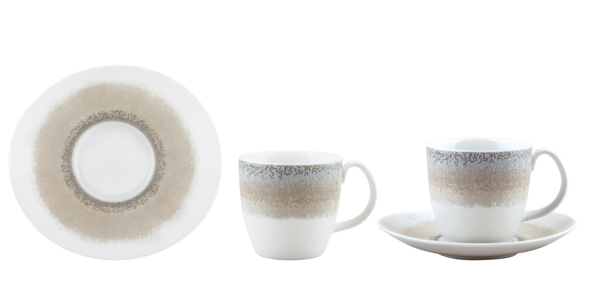 Φλυτζάνι & Πιάτο Τσαγιού Apeiron Beige Σετ 6τμχ Ionia home   ειδη cafe τσαϊ   κούπες   φλυτζάνια