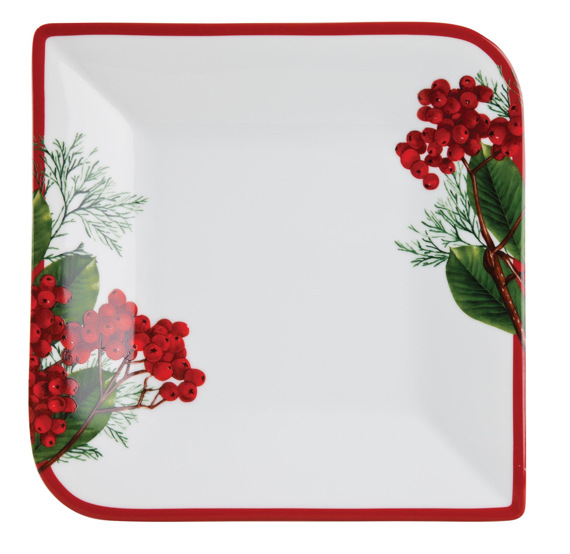 Πιάτο Τετράγωνο Ρηχό Red Berry 22cm Ionia home   ειδη σερβιρισματος   πιάτα
