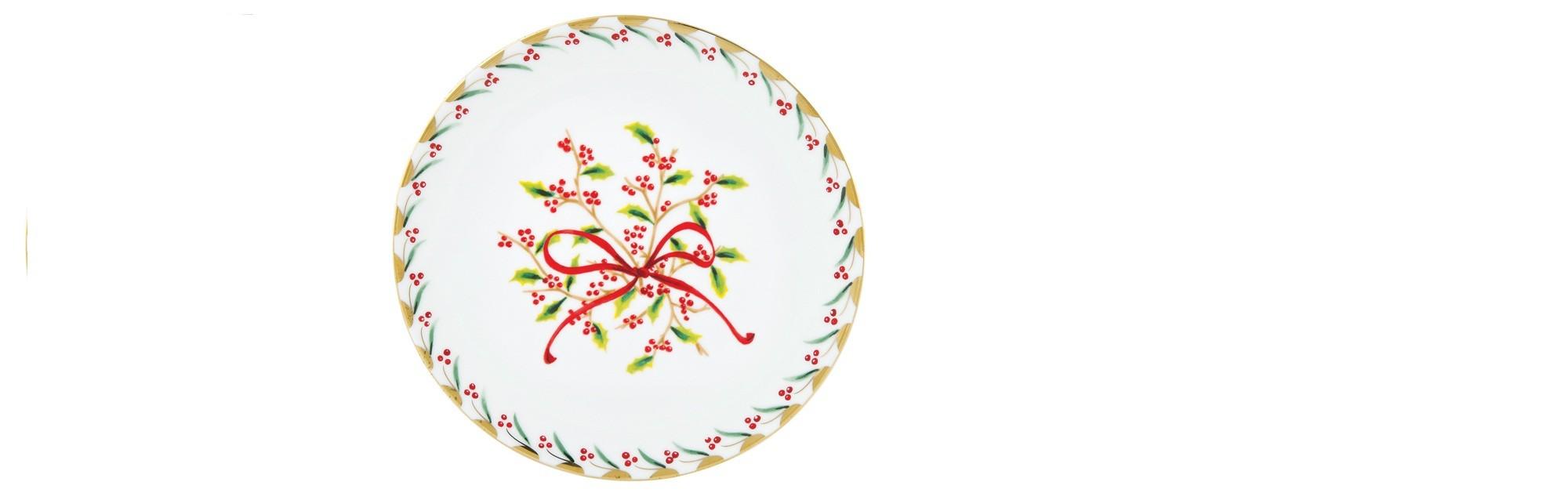 Πιάτο Φρούτου Στρογγυλό Κορδέλα Noel 21cm Ionia home   ειδη σερβιρισματος   πιάτα