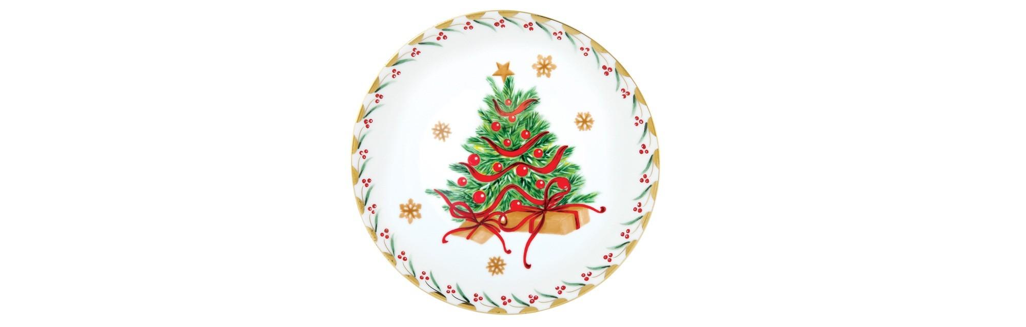 Πιάτο Φρούτου Στρογγυλό Δεντράκι Noel 21cm Ionia home   ειδη σερβιρισματος   πιάτα