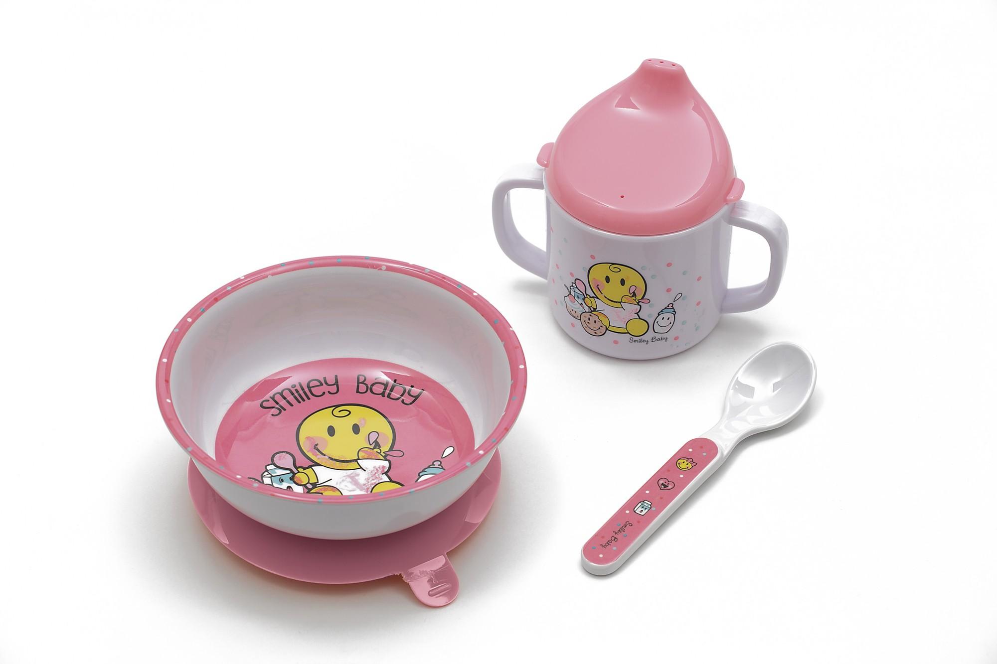 Σετ Φαγητού BeBe Smiley Baby Girl Zak Designs 3Τεμ. Μελαμίνης home   ειδη σερβιρισματος   είδη bebe