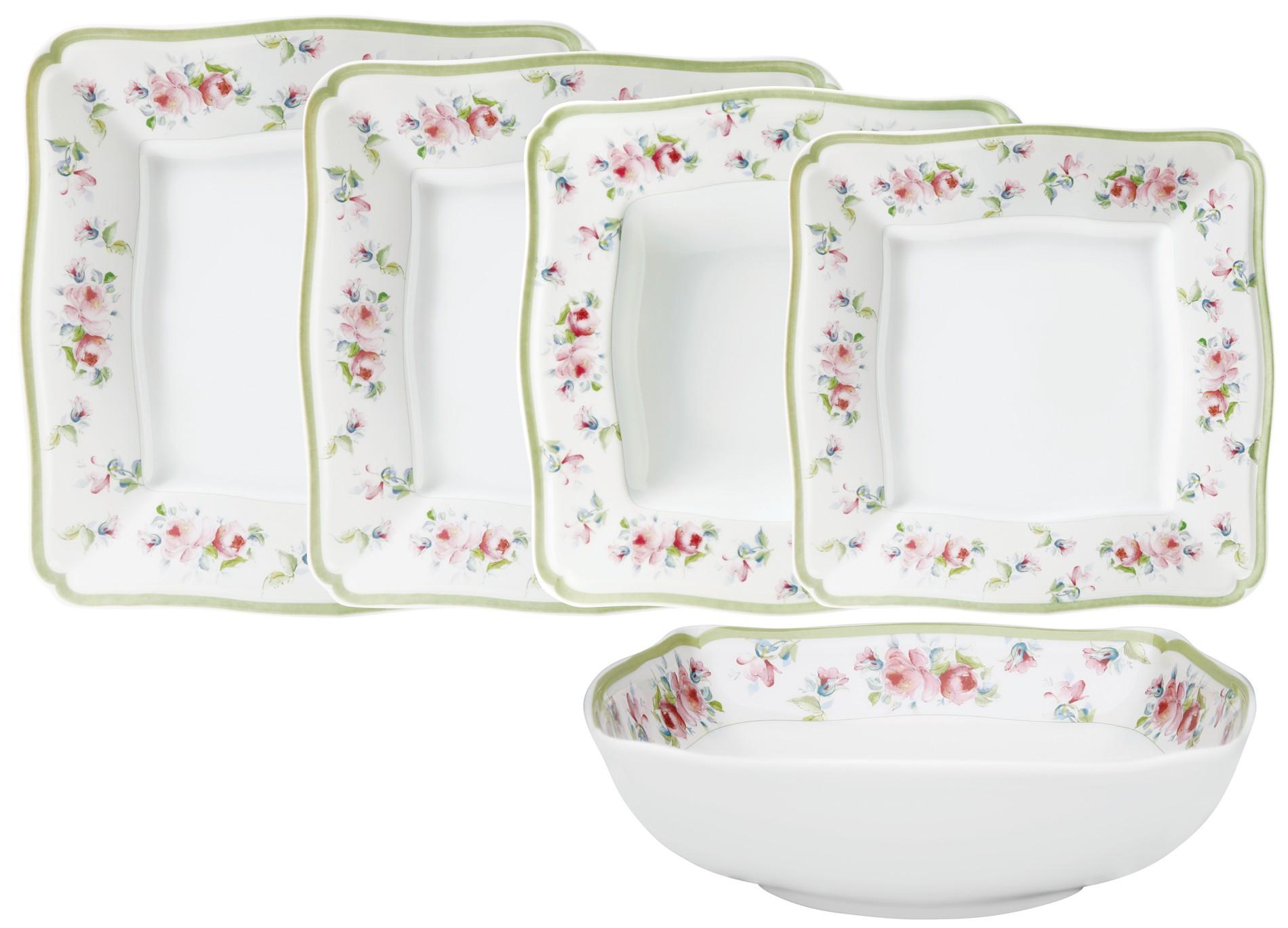 Σερβίτσιο Φαγητού Romantica Τετράγωνο 20τμχ. Ionia home   ειδη σερβιρισματος   πιάτα   σερβίτσια
