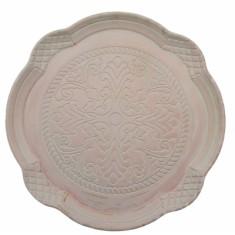 Δίσκος Σερβιρίσματος Ξύλινος, Στρογγυλός, Αντικέ Ροζ 34cm