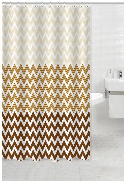 Κουρτίνα Μπάνιου Υφασμάτινη 180x180cm Waves Καφε home   ειδη μπανιου   κουρτίνες μπάνιου