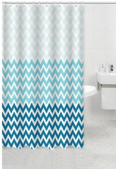 Κουρτίνα Μπάνιου Υφασμάτινη 180x180cm Waves Μπλε home   ειδη μπανιου   κουρτίνες μπάνιου