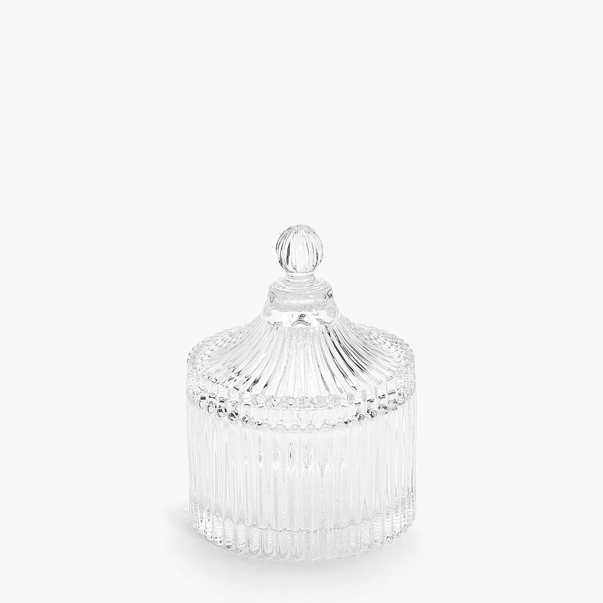 Βάζο Γυάλινο Ανάγλυφο Με Καπάκι 15cm home   κρυσταλλα  διακοσμηση   κρύσταλλα