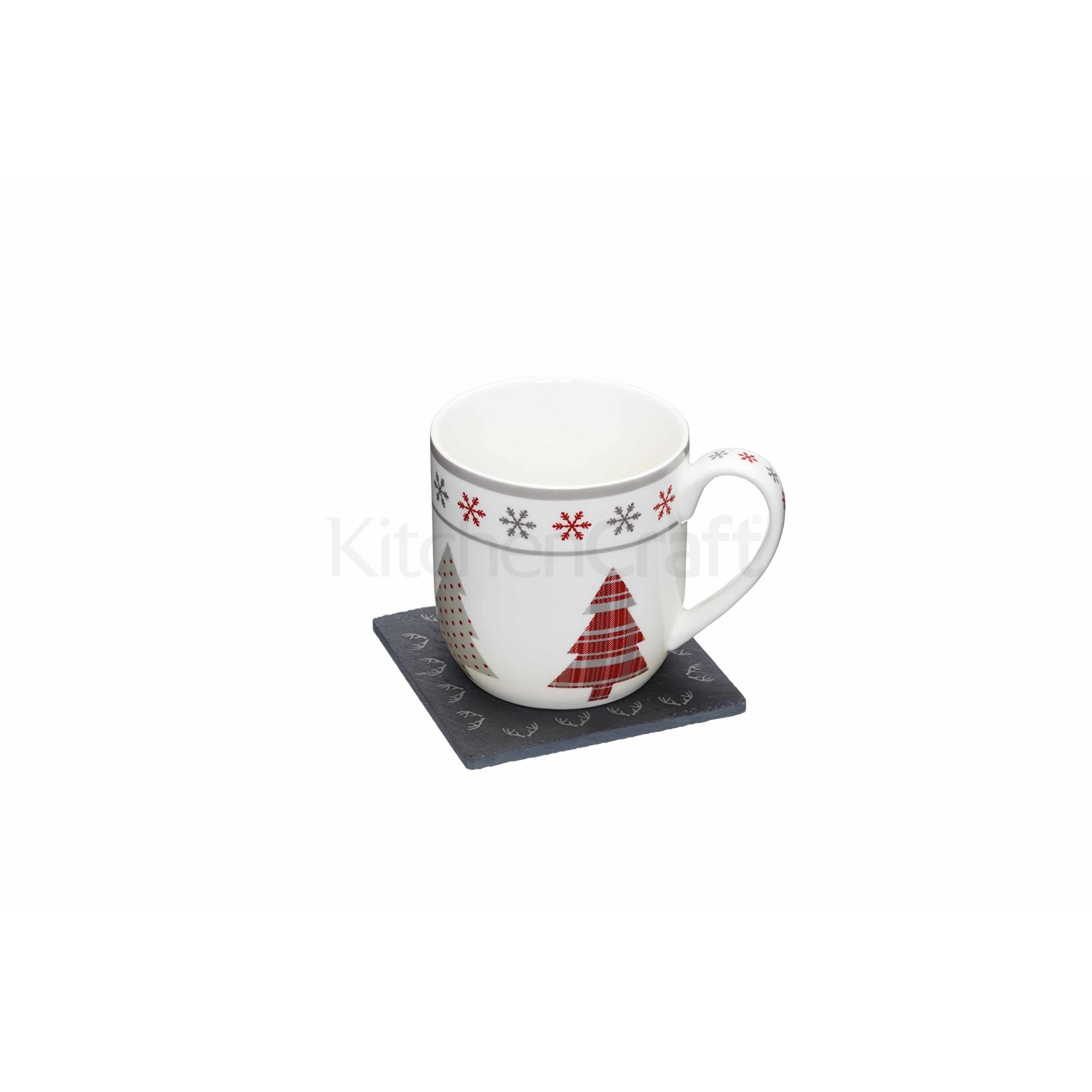 """Κούπα Πορσελάνης Με Σουβέρ """"We Love Christmas"""" ChristmasTree Kitchencraft home   χριστουγεννιατικα   είδη σερβιρίσματος"""